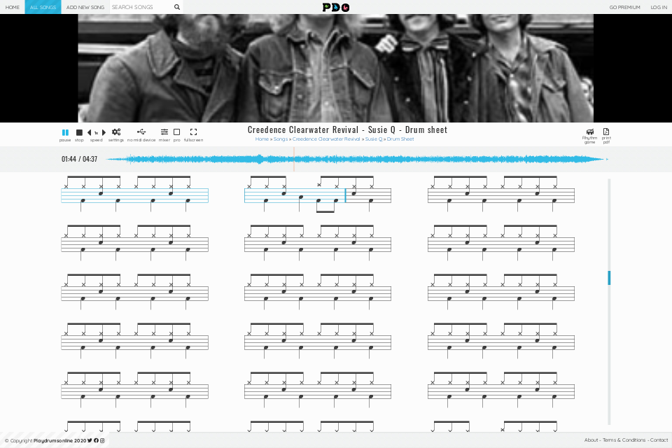 Creedence Clearwater Revival - Susie Q | sheet music • Play Drums Online