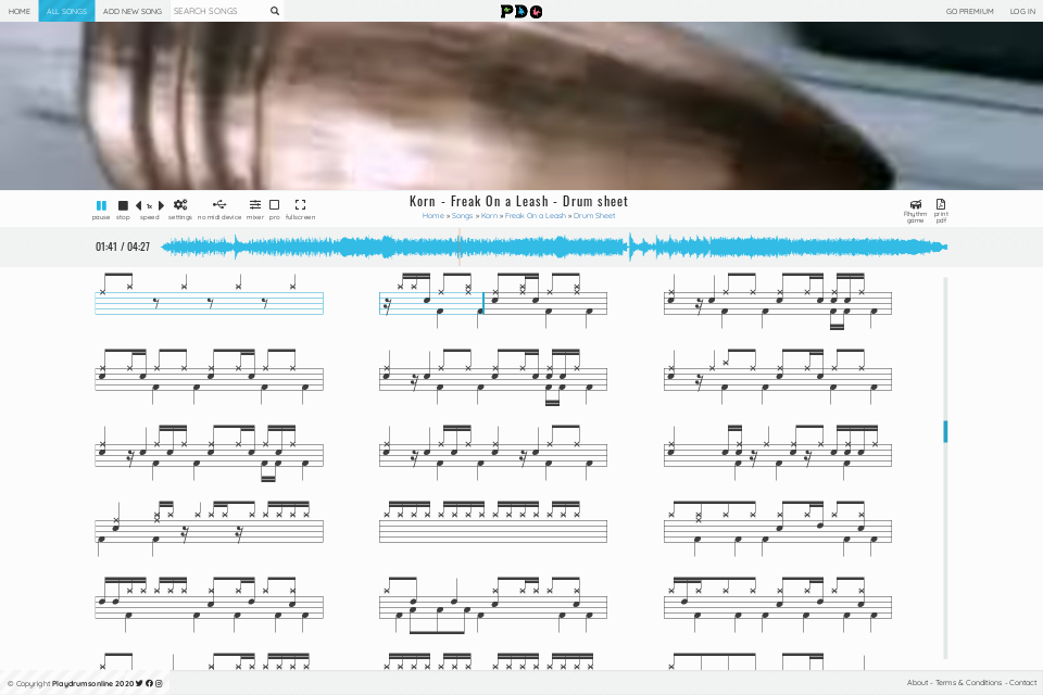 Korn - Freak On a Leash | sheet music • Play Drums Online
